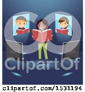 Clipart Of A Group Of Children On Screens Around A Teacher Reading A Book Royalty Free Vector Illustration