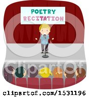 Clipart Of A Group Of Children In An Audience Listening To A Boy Reciting Poetry Royalty Free Vector Illustration