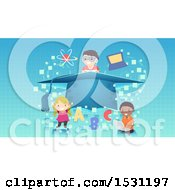 Clipart Of A Group Of School Children Around A Graduation Cap With School Icons Over Pixels Royalty Free Vector Illustration by BNP Design Studio