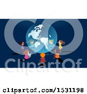 Clipart Of A Group Of School Children Learning And Sitting Around A Globe Hologram Royalty Free Vector Illustration
