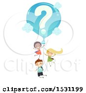 Clipart Of A Group Of Children Floating With A Question Mark Balloon Royalty Free Vector Illustration