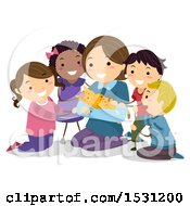 Clipart Of A Group Of Children Surrounding A Woman Holding A Cat Royalty Free Vector Illustration