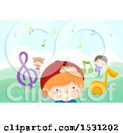 Clipart Of A Group Of Children Playing With Music Notes Outdoors Royalty Free Vector Illustration