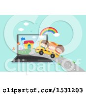 Poster, Art Print Of Group Of Children Riding A Bus To School In A Laptop Screen