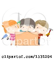Group Of Children Holding A Screwdriver Hammer And Saw Around A Blank Wood Sign