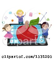 Clipart Of A Group Of Children Modeling A 3d Apple On A Tablet Royalty Free Vector Illustration