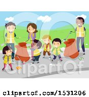 Clipart Of A Group Of Adults And Children Volunteering To Clean Up Litter Royalty Free Vector Illustration