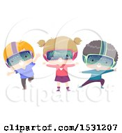 Clipart Of A Group Of Children Wearing Virtual Reality Glasses Royalty Free Vector Illustration