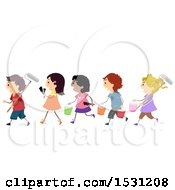 Group Of Children Carrying Paint Brushes And Buckets
