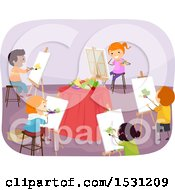 Clipart Of A Group Of Children Painting A Still Life In Art Class Royalty Free Vector Illustration