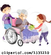 Boy And Girl Visiting A Senior Woman In A Wheelchair