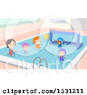 Clipart Of A Coach Teaching Kids How To Play Water Polo Royalty Free Vector Illustration by BNP Design Studio