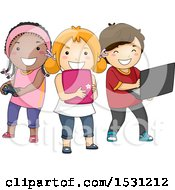 Clipart Of A Group Of Children Using A Video Game Controller Tablet And Laptop Royalty Free Vector Illustration