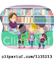 Clipart Of A Group Of Children Checking Out E Books In A Library Royalty Free Vector Illustration