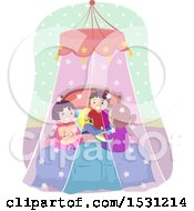 Clipart Of A Group Of Children Talking In A Bed With A Canopy Royalty Free Vector Illustration by BNP Design Studio
