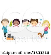Clipart Of A Group Of Children With Pets Around A Blank Banner Sign Royalty Free Vector Illustration
