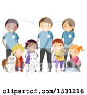 Poster, Art Print Of Group Of Children And Adults With Rescue Animals