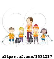 Clipart Of A Group Of Children And Woman Picking Up Litter Royalty Free Vector Illustration