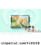 Clipart Of A Group Of Children Following A Teacher On A Path To Ruins In A Tablet Screen Royalty Free Vector Illustration