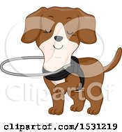 Clipart Of A Blind Dog Wearing A Harness Royalty Free Vector Illustration