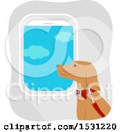 Clipart Of A Dog Traveling On An Airplane Royalty Free Vector Illustration