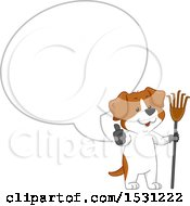 Clipart Of A Happy Dog Holding A Pooper Scooper And Giving A Thumb Up Under A Speech Bubble Royalty Free Vector Illustration