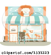 Clipart Of A Dog Cafe Storefront Royalty Free Vector Illustration by BNP Design Studio