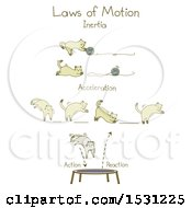 Clipart Of A Kitty Cat Demonstrating The Laws Of Motion Royalty Free Vector Illustration
