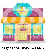 Clipart Of A Cat Cafe Store Front Royalty Free Vector Illustration by BNP Design Studio