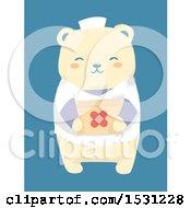 Cute Bear Nurse Holding A First Aid Kit Over Blue