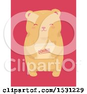 Clipart Of A Cute Bear Holding A Donate Box Over Pink Royalty Free Vector Illustration