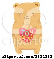 Cute Bear Holding A Toy Drive Heart
