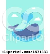 Clipart Of A Whale Spouting A Heart Royalty Free Vector Illustration by BNP Design Studio
