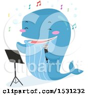 Clipart Of A Whale Singing A Song And Holding A Microphone Royalty Free Vector Illustration by BNP Design Studio