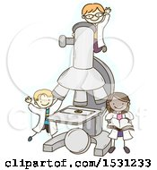Sketched Group Of Children Scientists Around A Giant Microscope