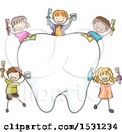 Sketched Group Of Children With Dental Products Around A Tooth