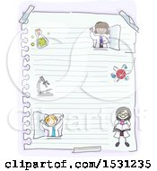 Clipart Of A Sketched Group Of Children Scientists On Ruled Paper Royalty Free Vector Illustration