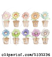 Clipart Of Sketched Flowers With Child Faces And Numbered Pots Royalty Free Vector Illustration