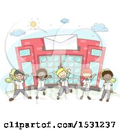 Sketched Group Of Children In Uniform Cheering In Front Of A Post Office