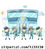 Clipart Of A Sketched Group Of Children In Uniform Cheering In Front Of A Police Station Royalty Free Vector Illustration