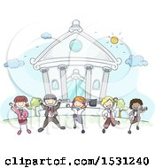 Sketched Group Of Children In Business Clothes In Front Of A Bank