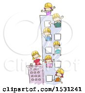 Sketched Group Of Children Wearing Hard Hats In A Tall Building