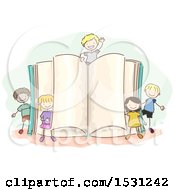 Clipart Of A Sketched Group Of Children Around A Giant Open Book Royalty Free Vector Illustration