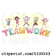 Sketched Group Of Children Jumping Over The Word Teamwork