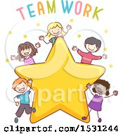 Sketched Group Of Children With The Word Teamwork Over A Star
