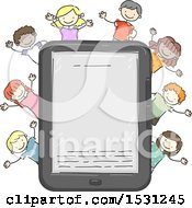 Clipart Of A Sketched Group Of Children Cheering Around A Tablet Or E Reader Royalty Free Vector Illustration