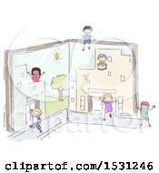 Poster, Art Print Of Sketched Group Of Children Playing In Book Buildings