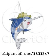 Clipart Of A Sailfish Wearing A Hat And Holding A Fishing Pole Royalty Free Vector Illustration