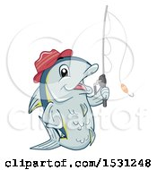 Clipart Of A Tuna Fish Mascot Wearing A Hat And Holding A Fishing Pole Royalty Free Vector Illustration