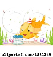 Clipart Of A Birthday Fish By A Cake Royalty Free Vector Illustration